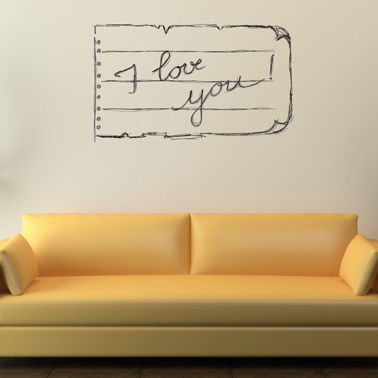 Love note I Love You Valentine's Day Decal