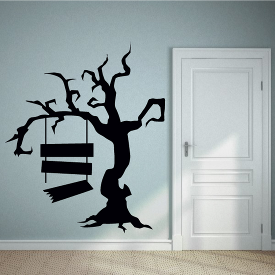 Halloween Scary Tree with Broken Sign Decor Decal