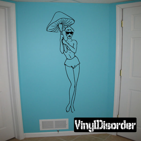 Topless Woman with Mushroom Decal