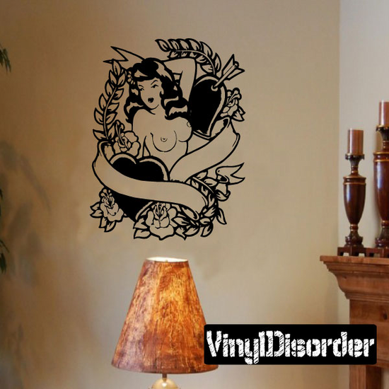 Topless Woman with Heats Tattoo Decal