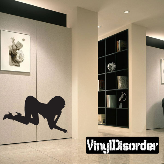 Crawling Woman in Heels Silhouette Decal