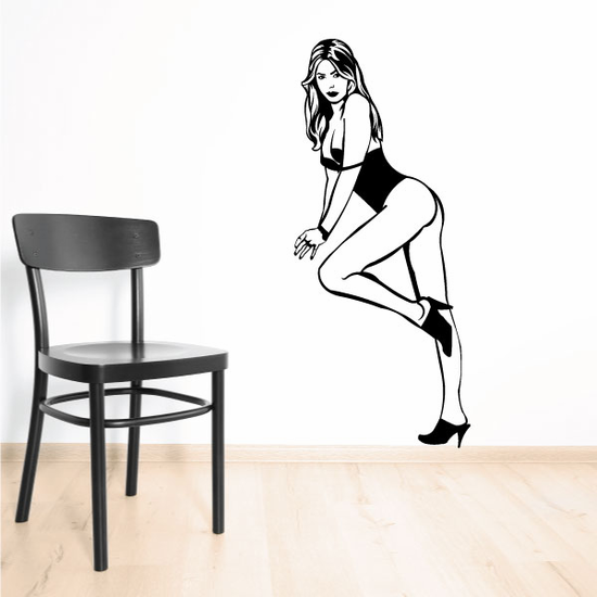 Standing Woman in Lingerie and Heels Decal