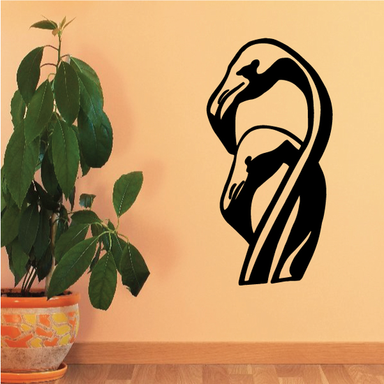Two Flamingo Heads Decal