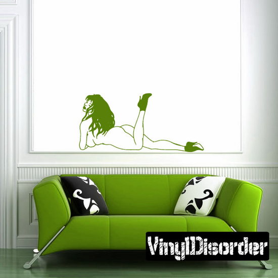 Playful Nude Woman in Heels Decal