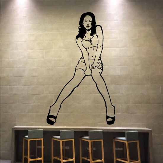 Woman in Short Skirt and Heels Decal