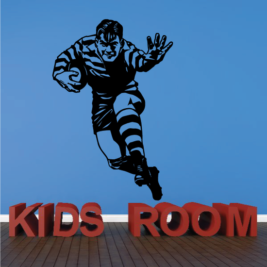 Rugby Running Pushing Pose Decal