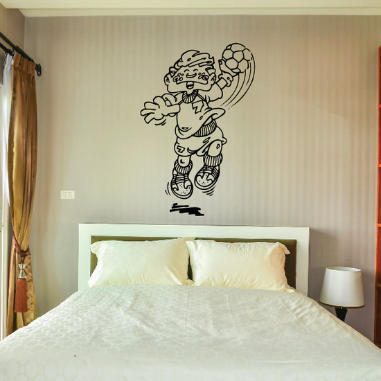 Cartoon Kid Rugby Player Decal