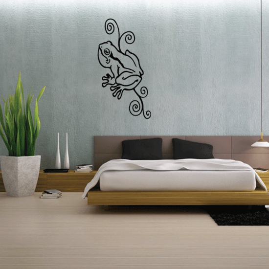 Curly Vine and Frog Decal