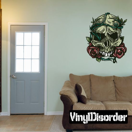 Skull with Roses and Vines Sticker