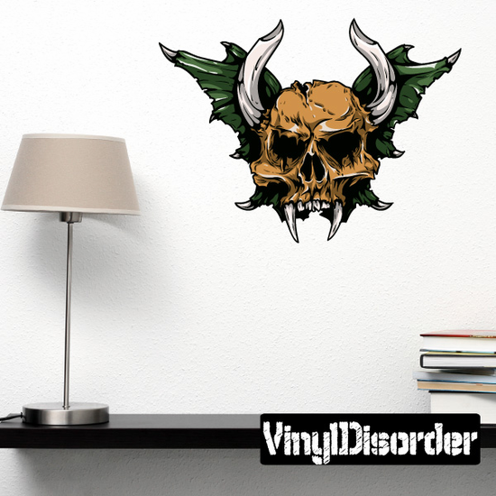Horned Skull with Wings Sticker