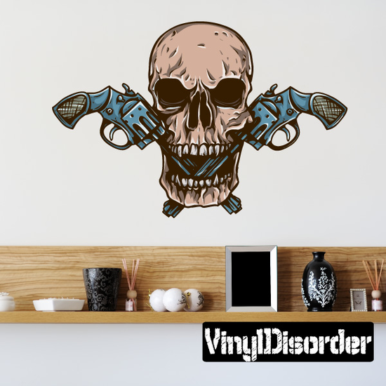 Skull with Double Revolvers Decal
