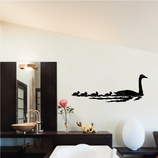 Geese Family Swimming Decal
