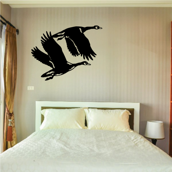 Two Geese Flying Decal