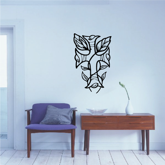 Vine Cross with Leaves Decal
