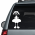 Girl with Pigtails and Hands Behind Dress Decal