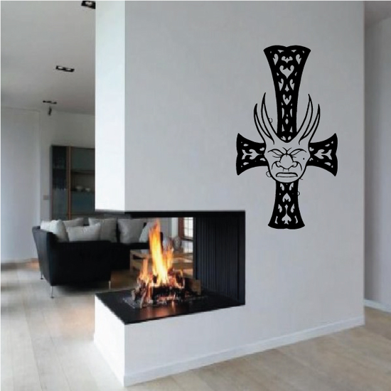Filligree Cross with Hormed Demon Mask Decal