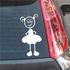 Girl looking Mischevious and Hands Behind Dress Decal