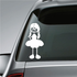 Girl Smiling with Long Pigtails and Hands Behind Clothes Decal