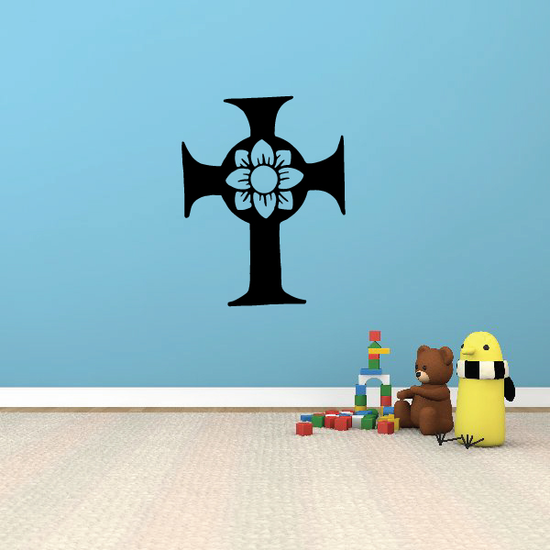 Celtic Cross with Flower Decal
