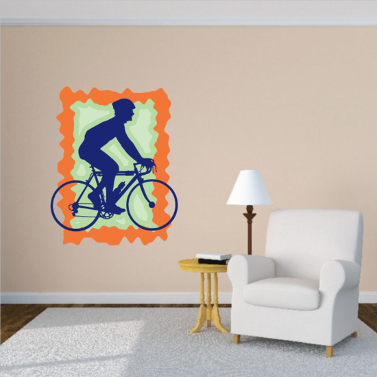 Relaxing Cyclist with Helmet Sticker
