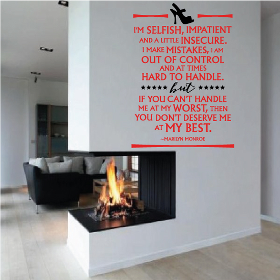 Im Selfish Impatient And A Little Insecure I Make Mistakes I Am Out Of Control Marilyn Monroe Wall Decal