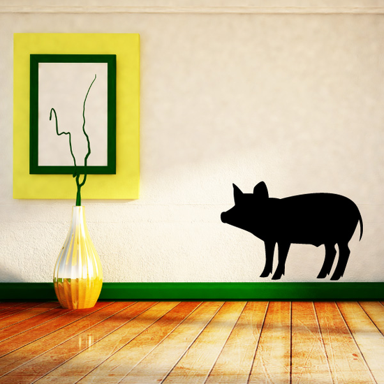 Standing Curious Pig Decal