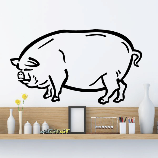 Round Pig Standing Decal