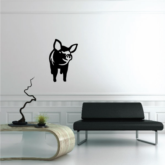 Curious Approaching Pig Decal