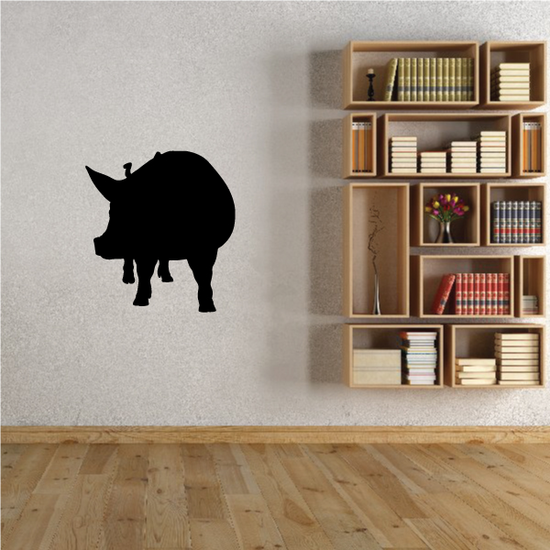 Looking Over Pig Silhouette Decal