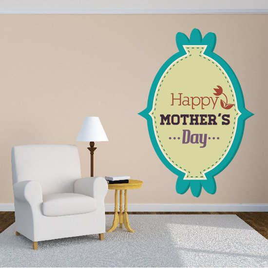 Oval Style Happy Mothers Day Decal