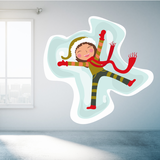 Christmas Elf Making Snow Angels Sticker