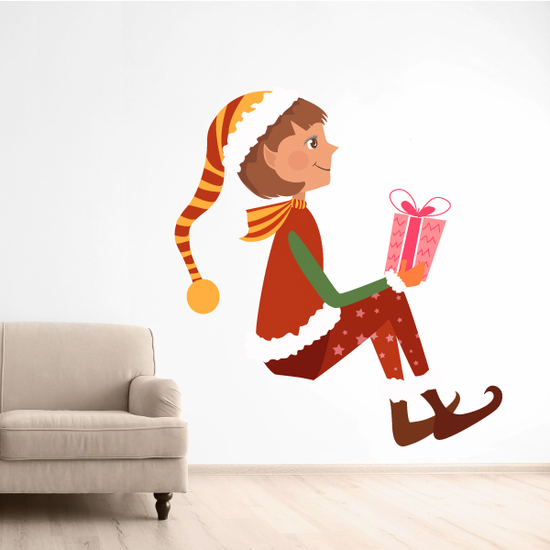 Christmas Elf Giving Presents Sticker