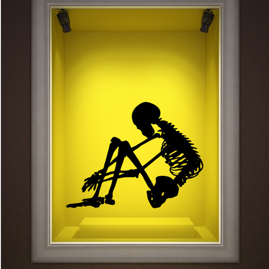 Skeleton Doing Crunches Decal
