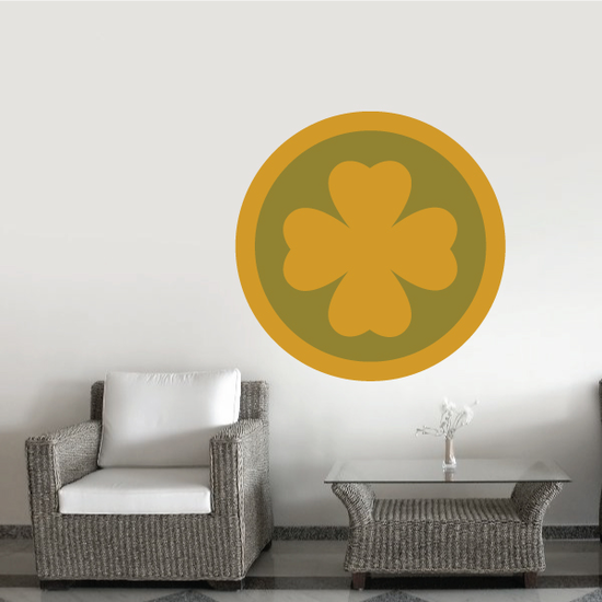 4 Leaf Clover St Patrick's Day Coin Sticker