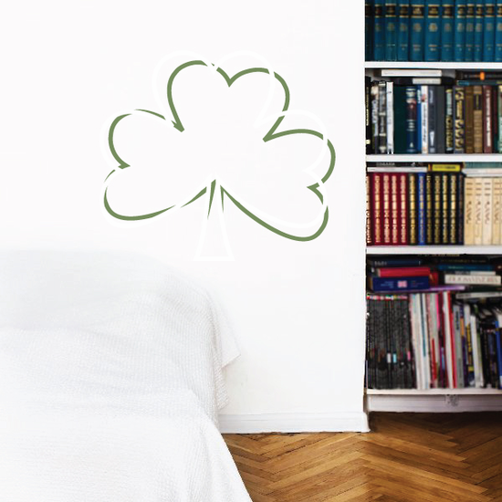 3 Leaf Clover St Patrick's Day Overlapping Leaf Printed Die Cut Decal