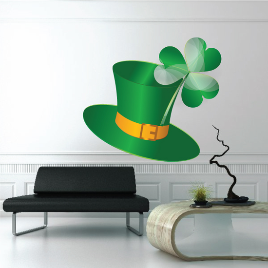 Green Top Hat with 3 Leaf Clover St Patrick's Day Sticker
