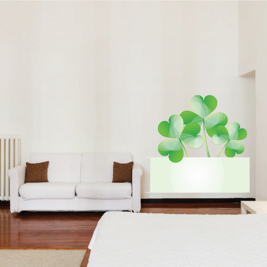 Banner with 3 Leaf Clovers St Patrick's Day Printed Die Cut Decal