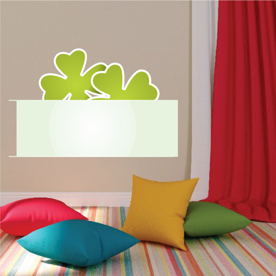 Banner with Peeking 4 Leaf Clovers St Patrick's Day Sticker