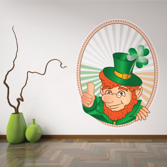 Window with Leprechaun Thumbs Up St Patrick's Day Sticker