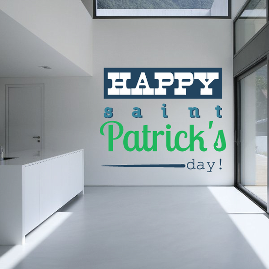 Happy St Patrick's Day Typography Printed Die Cut Decal