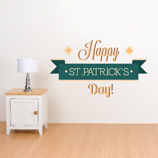 Gold Green Happy St Patrick's Day Banner Printed Die Cut Decal