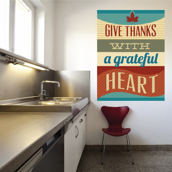 Give Thanks with a Grateful Heart Color Rectangle Sticker