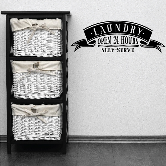 Laundry Open 24 Hours Self Serve Wall Decal