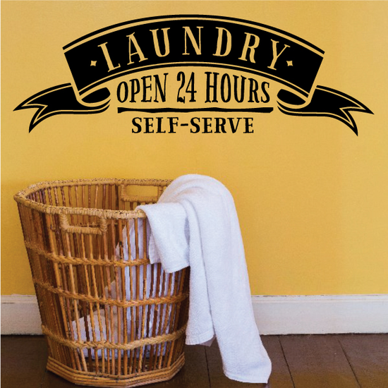 Laundry Open 24 Hours Wall Decal