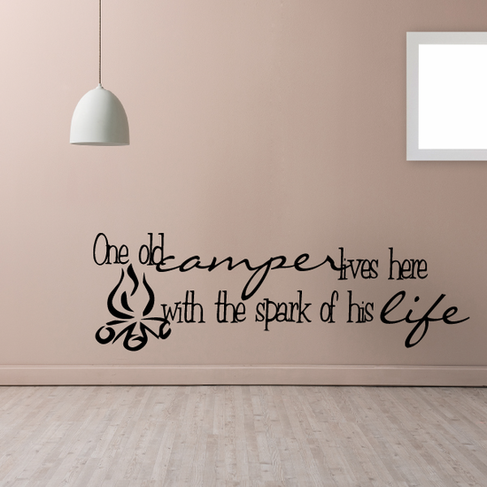 One old camper lives here with the spark of his life Decal