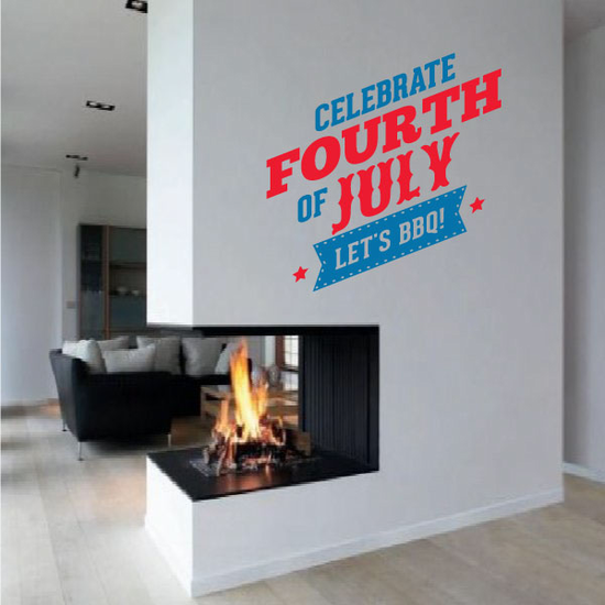 Celebrate Fourth of July Let's BBQ Decal