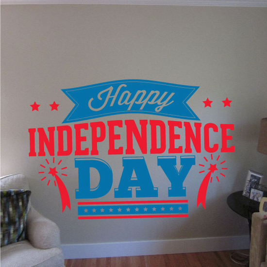 Red and Blue Happy Independence Day Decal