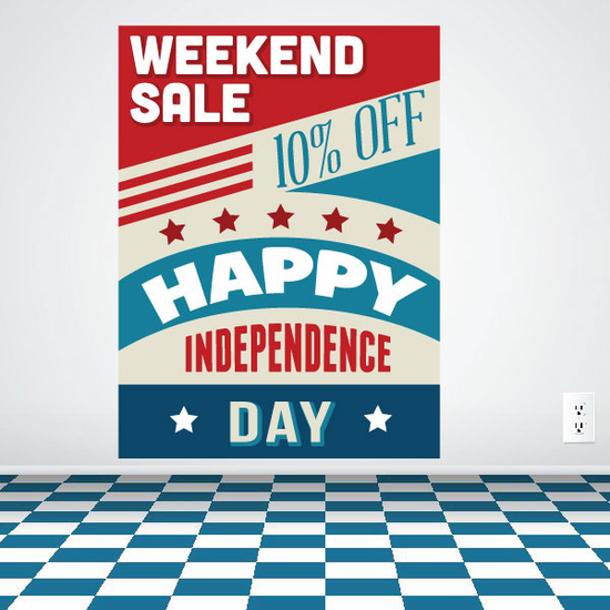 Weekend Sale Happy Independence Day Colorful Sticker