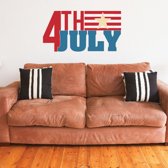 Red Yellow Blue 4th Of July Single Star Flag Decal