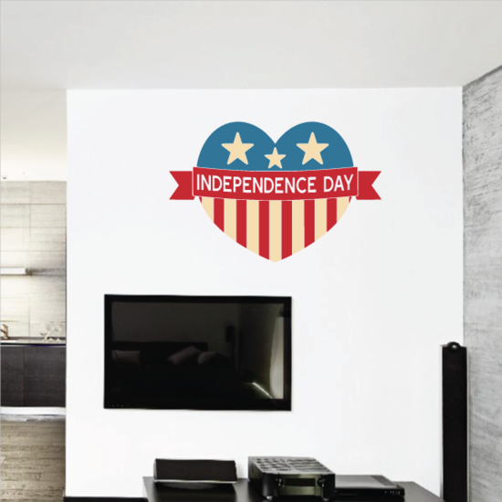 Independence Day Heart Sticker